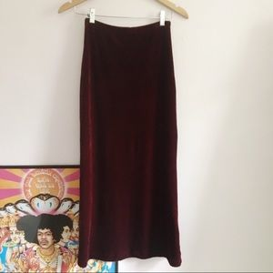 Vintage  Deep Red Velvet Maxi Skirt